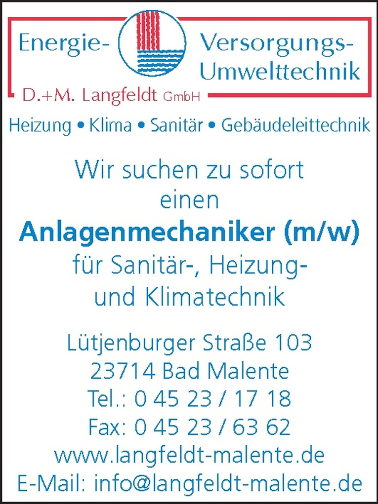 Anlagenmechaniker (m/w)