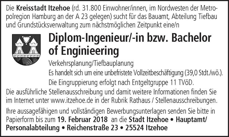 Diplom-Ingenieur/-in bzw. Bachelor of Enginieering Verkehrsplanung/Tiefbauplanung
