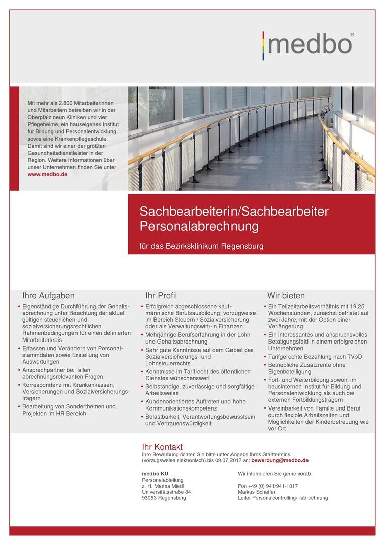 Sachbearbeiterin/Sachbearbeiter Personalabrechnung
