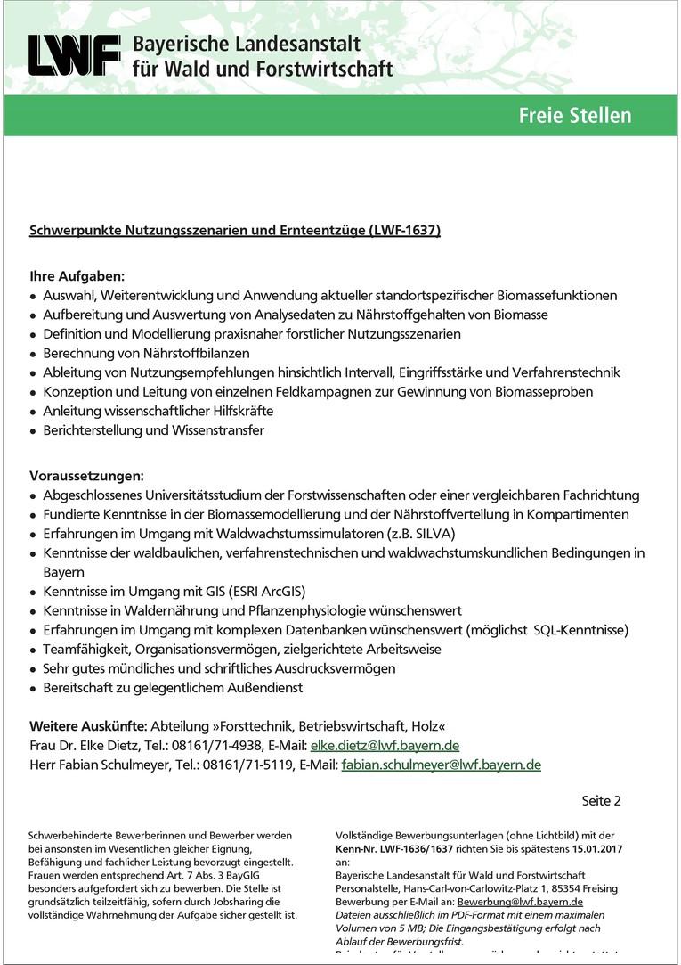 LWF-1637 Wissenschaftliche/r Mitarbeiter/in im Projekt: »Nährstoffnachhaltige Waldbewirtschaftung in Bayern« | Schwerpunkte: Nutzungsszenarien und Ernteentzüge m/w