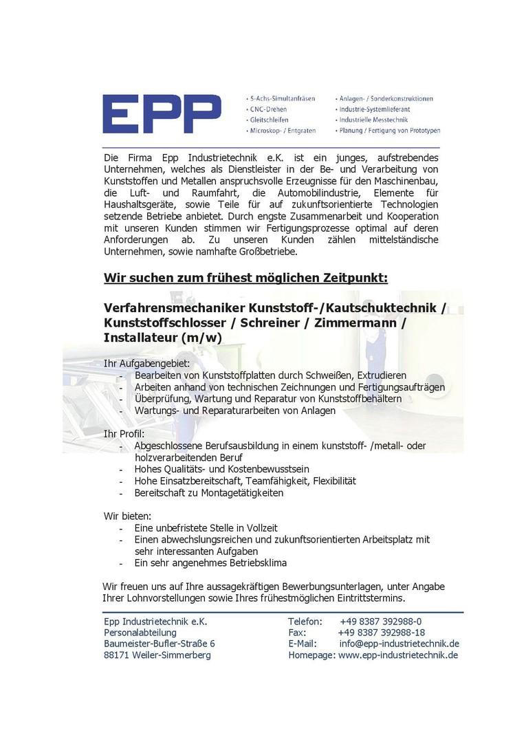 Verfahrensmechaniker Kunststoff-/Kautschuktechnik / Kunststoffschlosser / Schreiner / Zimmermann / Installateur (m/w)