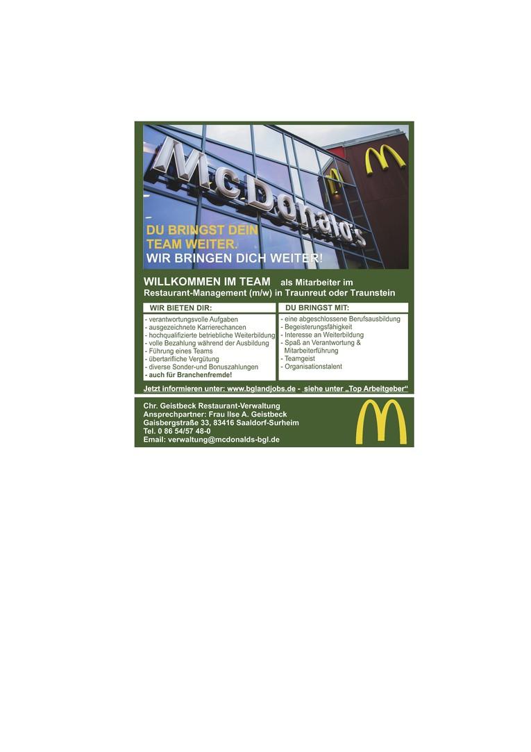 Restaurant-Management - Schichtführer/in bei McDonald's in Traunstein oder