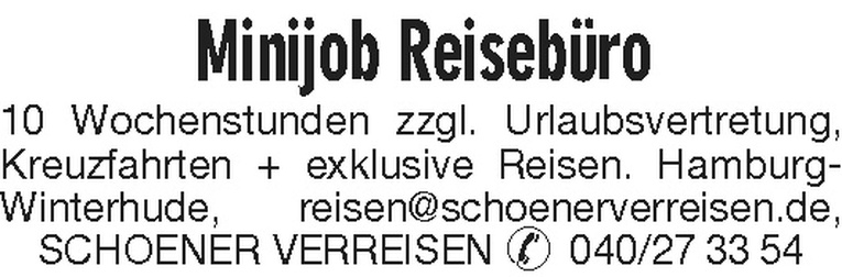 Minijob Reisebüro (m/w)