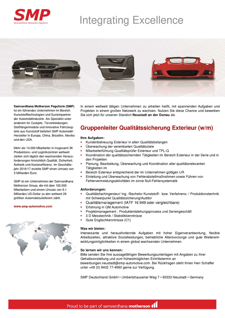 Gruppenleiter Qualitätssicherung Exterieur (w/m)