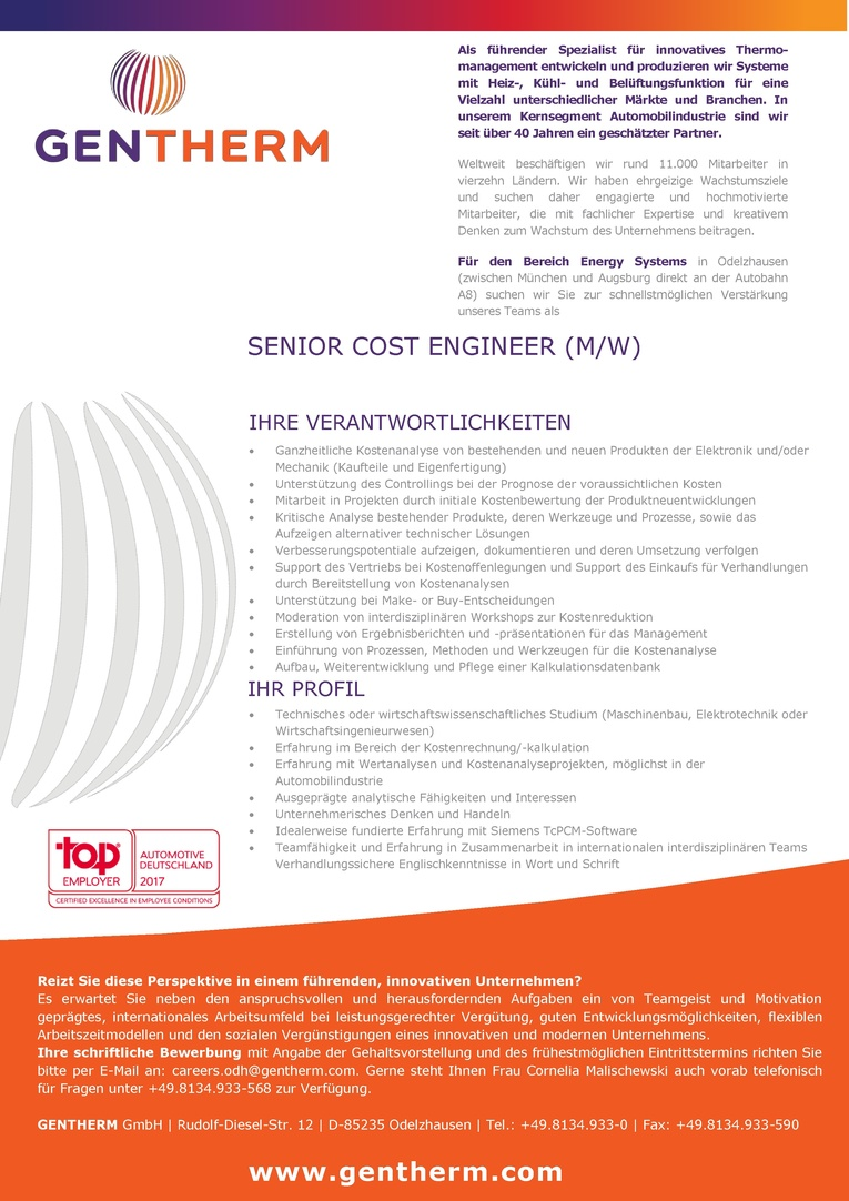 Senior Cost Engineer (m/w)
