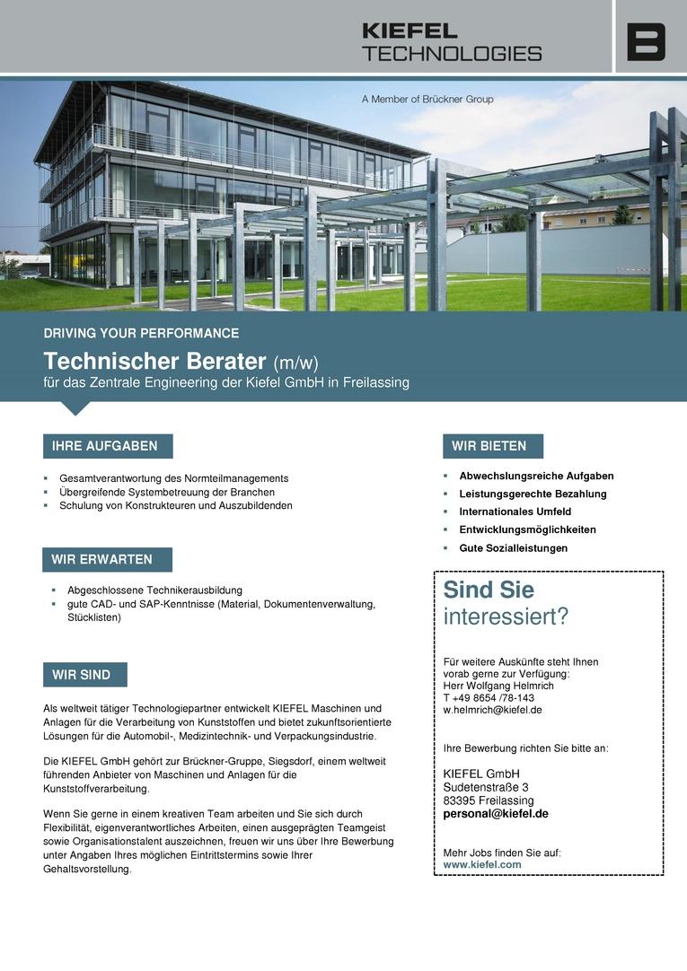 Technischer Berater (m/w) für das Zentrale Engineering