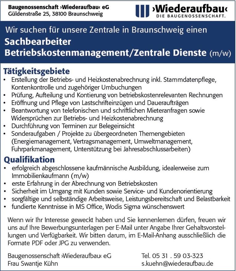 Sachbearbeiter Betriebskostenmanagement / Zentrale Dienste (m/w)