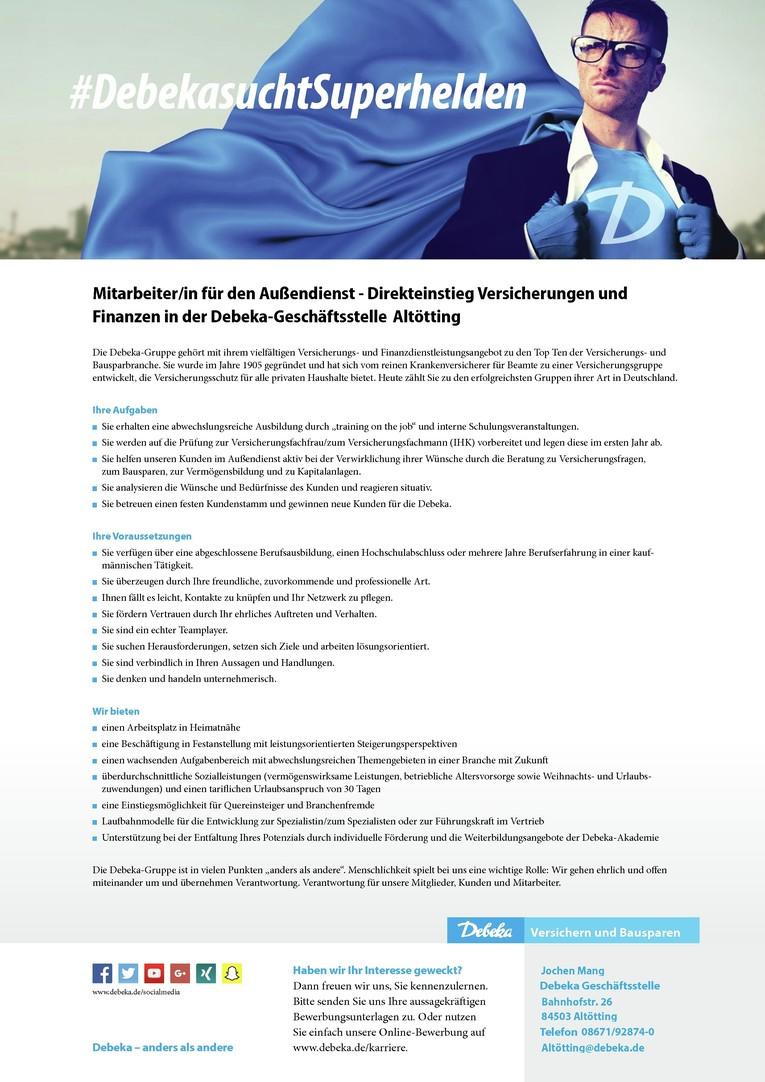 Mitarbeiter/in für den Außendienst - Direkteinstieg Versicherungen und Finanzen bei der Debeka
