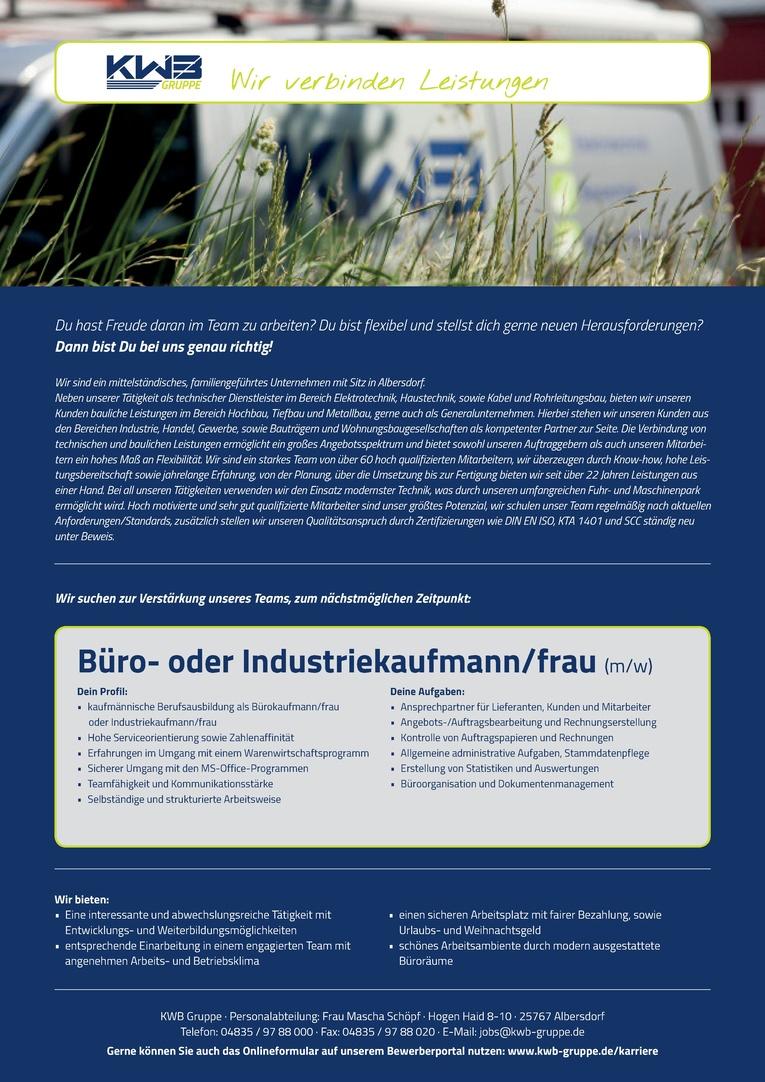 Büro- oder Industriekaufmann/frau (m/w)