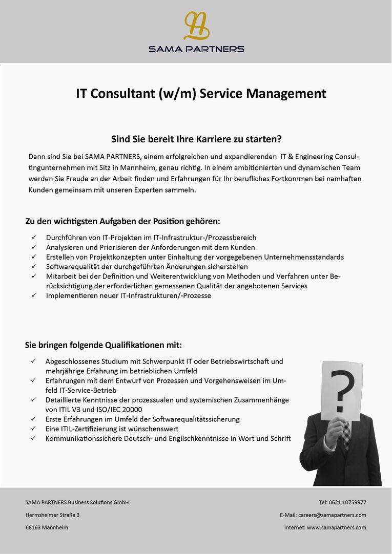 IT Consultant (w/m)  - Service Management