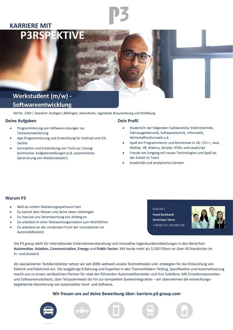 Werkstudent (m/w) - Softwareentwicklung (Ref.Nr.2263)