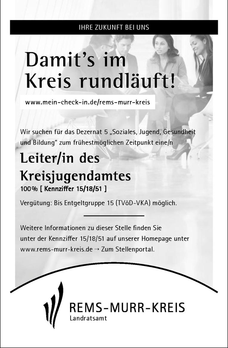 Leiter/in des Kreisjugendamtes 100 % [ Kennziffer 15/18/51 ]