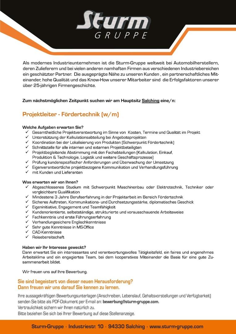 Projektleiter - Fördertechnik (m/w)