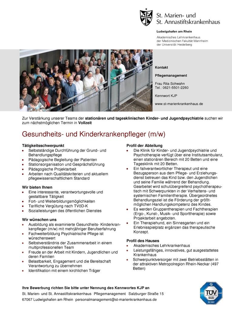 Gesundheits- und Krankenpfleger (m/w) Kinder- und Jugendpsychiatrie