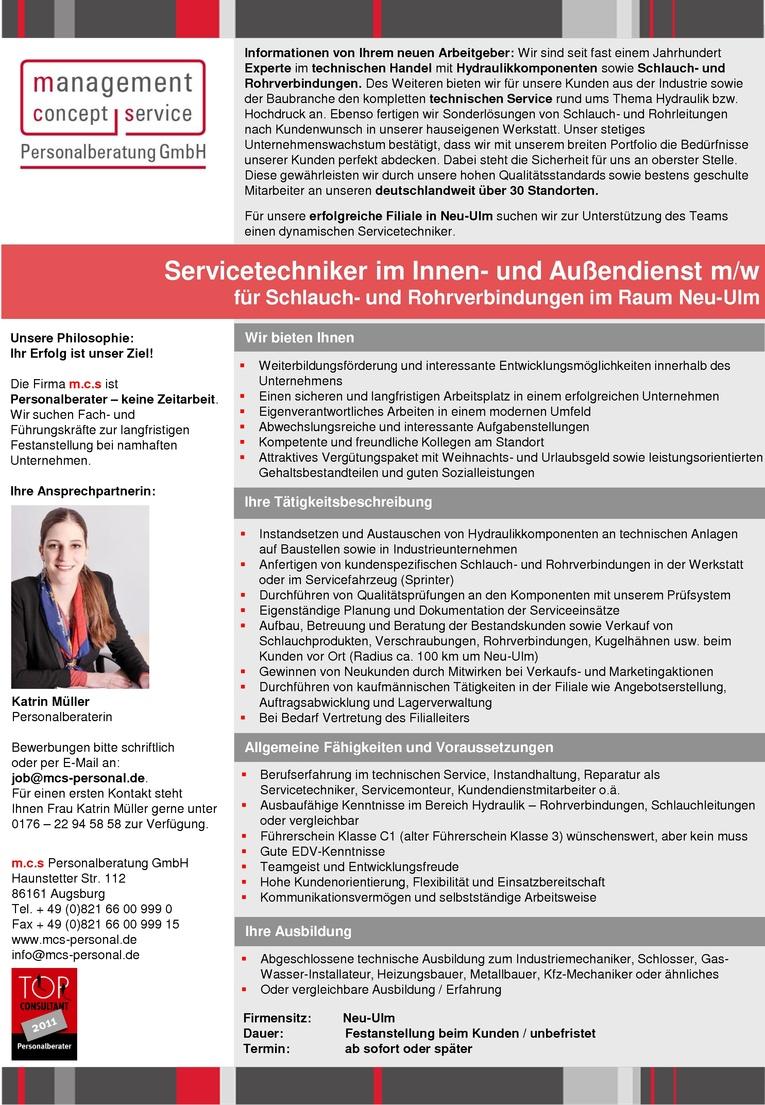 Servicetechniker im Innen- und Außendienst m/w für Schlauch- und Rohrverbindungen im Raum Neu-Ulm
