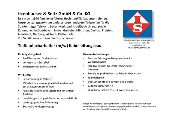 Tiefbaufacharbeiter (m/w), Tiefbauer (m/w) im Kabelleitungsbau