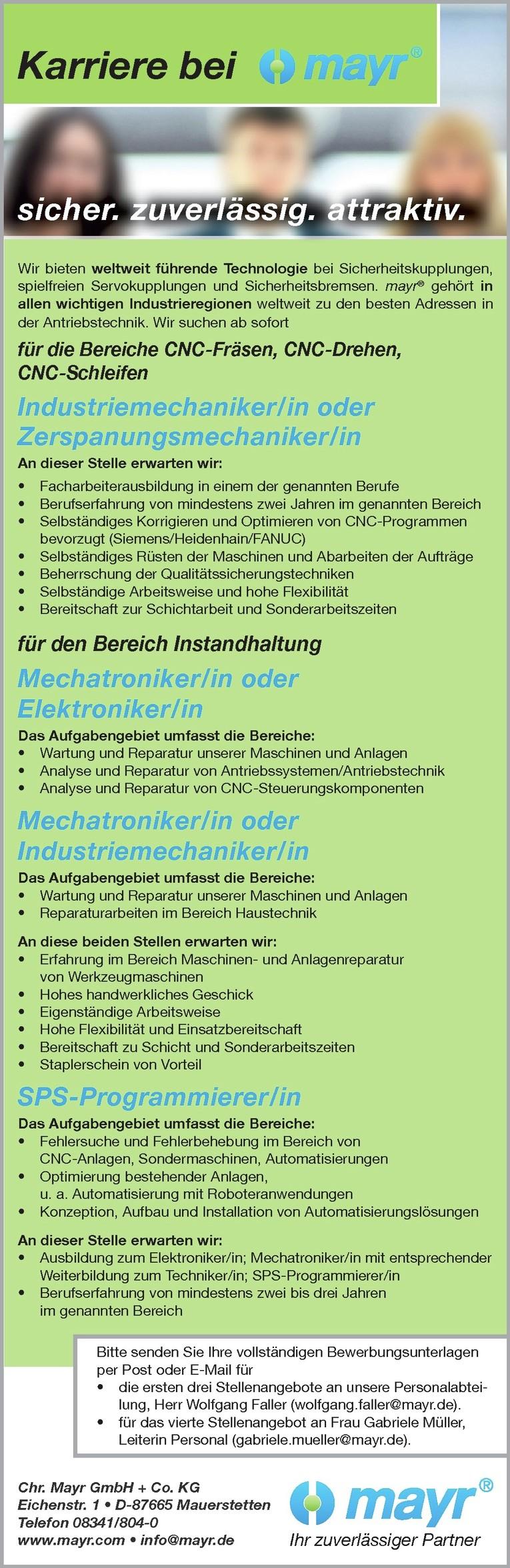 Mechatroniker/in oder Elektroniker/in