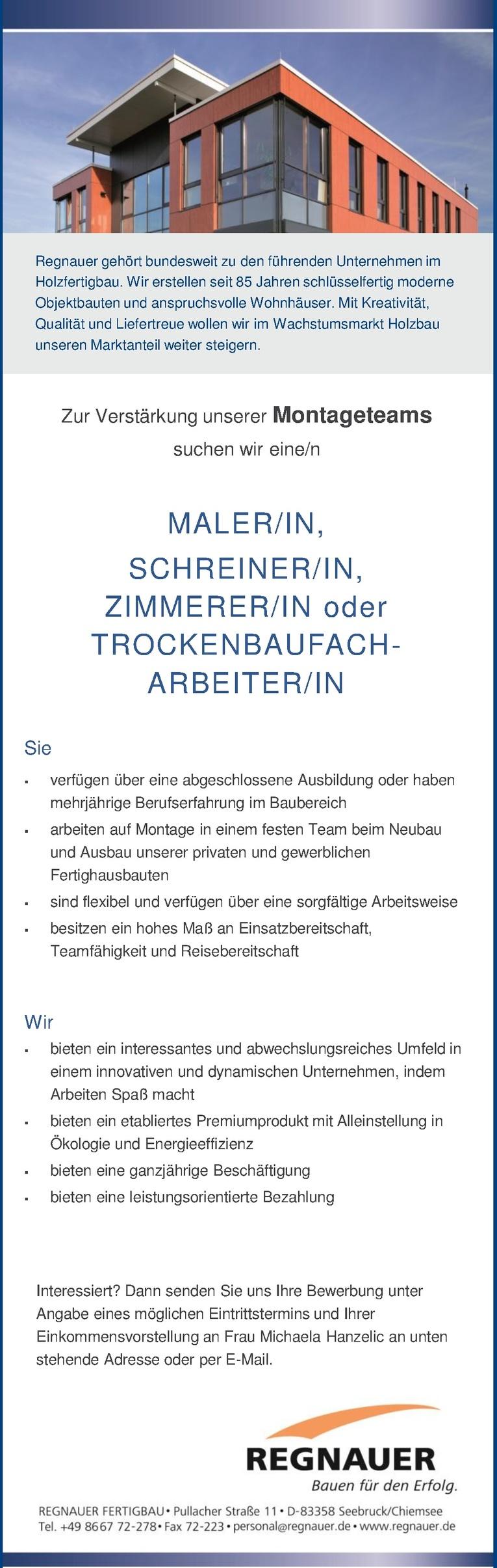 ZIMMERER/IN oder TROCKENBAUFACH- ARBEITER/IN