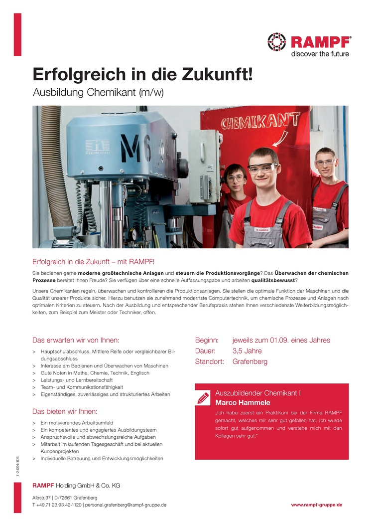 Ausbildung 2018 - Chemikant (m/w)