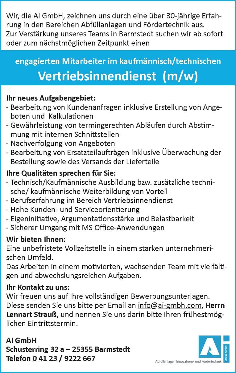 Mitarbeiter im kaufmännisch/technischen Vertriebsinnendienst (m/w)