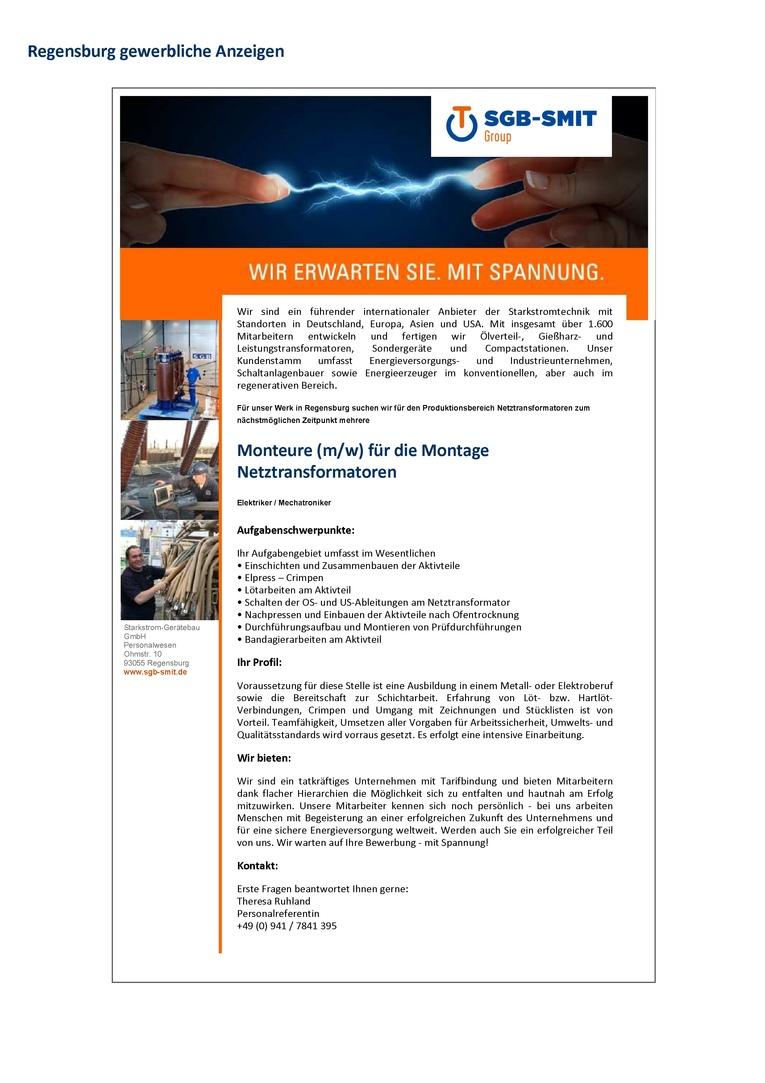 Monteure (m/w) für die Montage Netztransformatoren