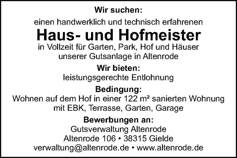 Haus- und Hofmeister (m/w)