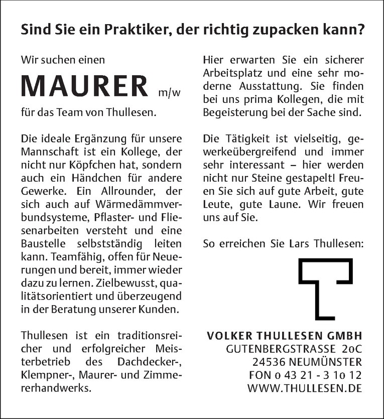 Maurer m/w