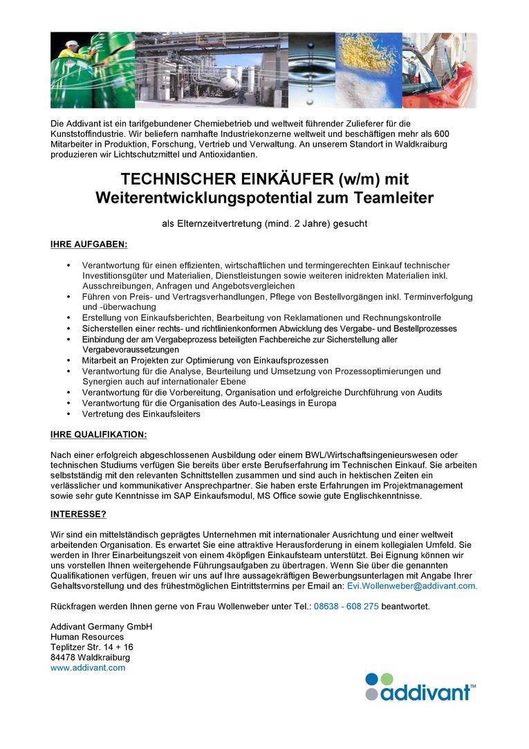 Technischer Einkäufer (w/m) mit Weiterentwicklungspotential zum Teamleiter