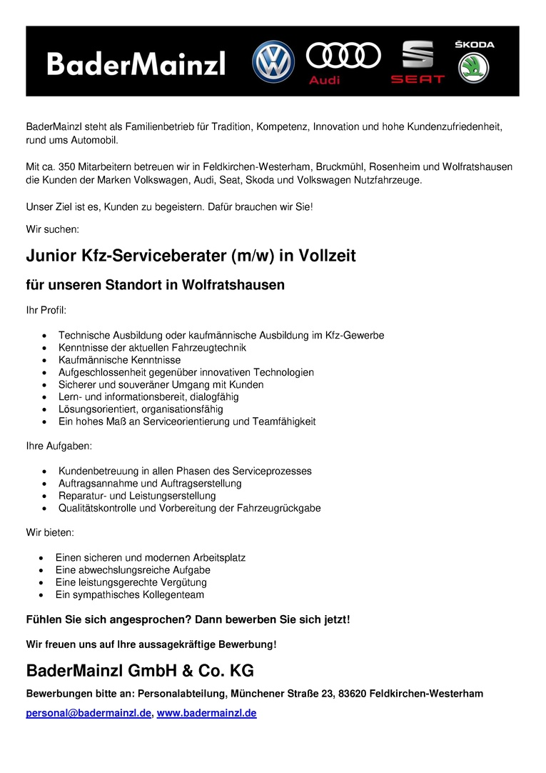 Junior Kfz-Serviceberater / Junior Kfz-Serviceberaterin