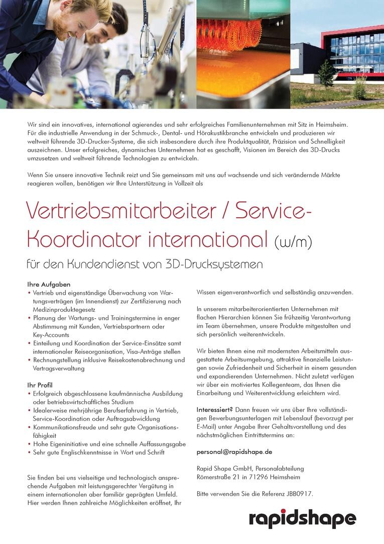Vertriebsmitarbeiter / Service- Koordinator international (w/m)