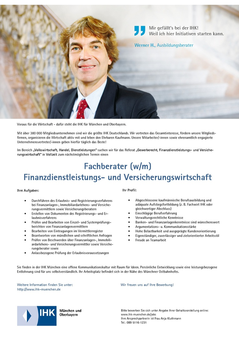 Fachberater (w/m) Finanzdienstleistungs- und Versicherungswirtschaft