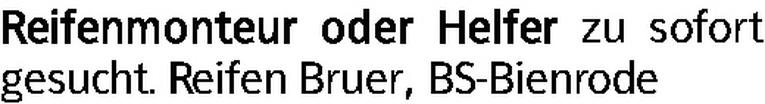 Reifenmonteur / Helfer (m/w)
