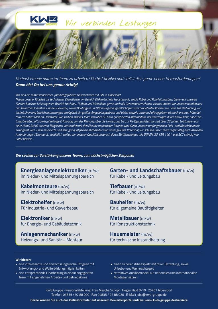 Energieanlagenelektroniker (m/w) im Nieder- und Mittelspannungsbereich