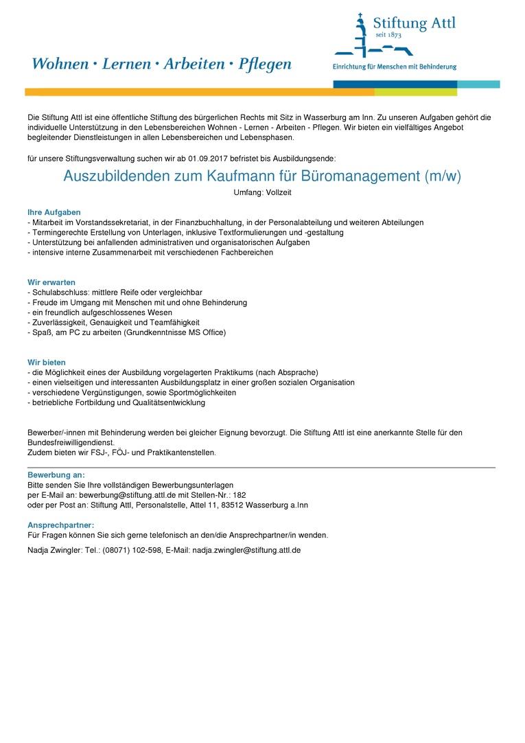 Auszubildenden zum Kaufmann für Büromanagement (m/w)