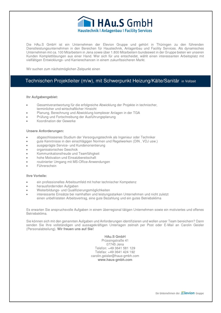 Technischer Projektleiter (m/w), Schwerpunkt Heizung/Kälte/Sanitär in Vollzeit