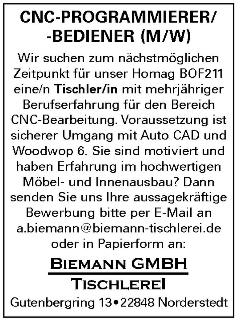CNC-PROGRAMMIERER/-BEDIENER (M/W)