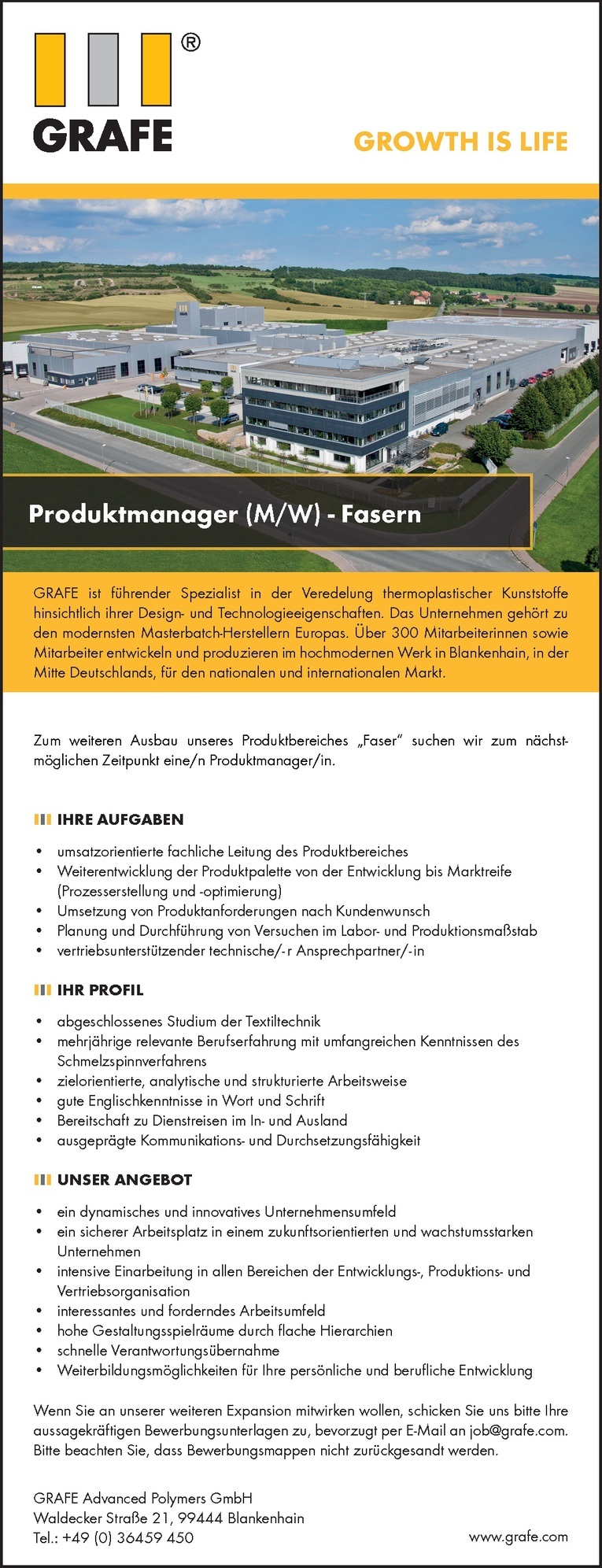 Produktmanager  (M/W)  - Fasern