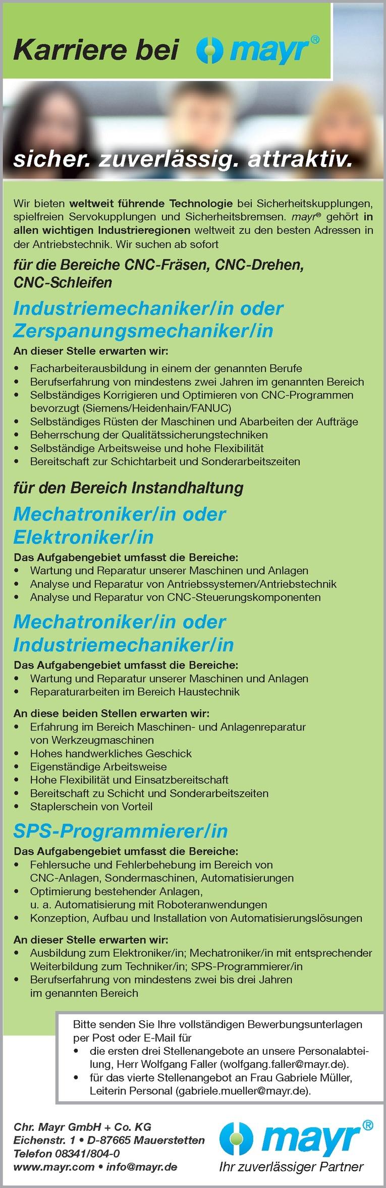 Industriemechaniker/in oder Zerspanungsmechaniker/in