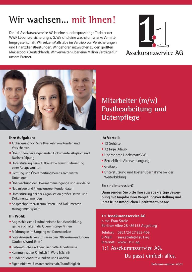 Mitarbeiter (m/w) Postbearbeitung und Datenpflege