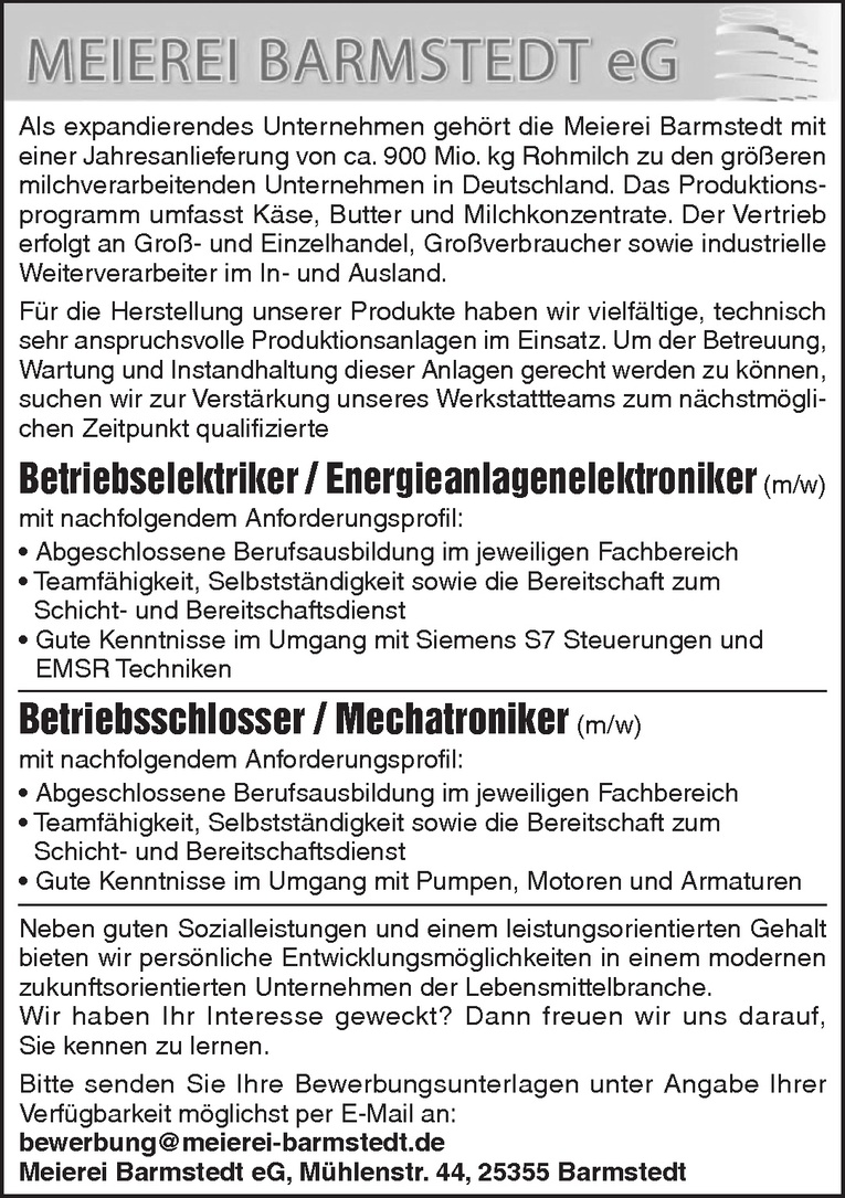 Betriebsschlosser / Mechatroniker (m/w)
