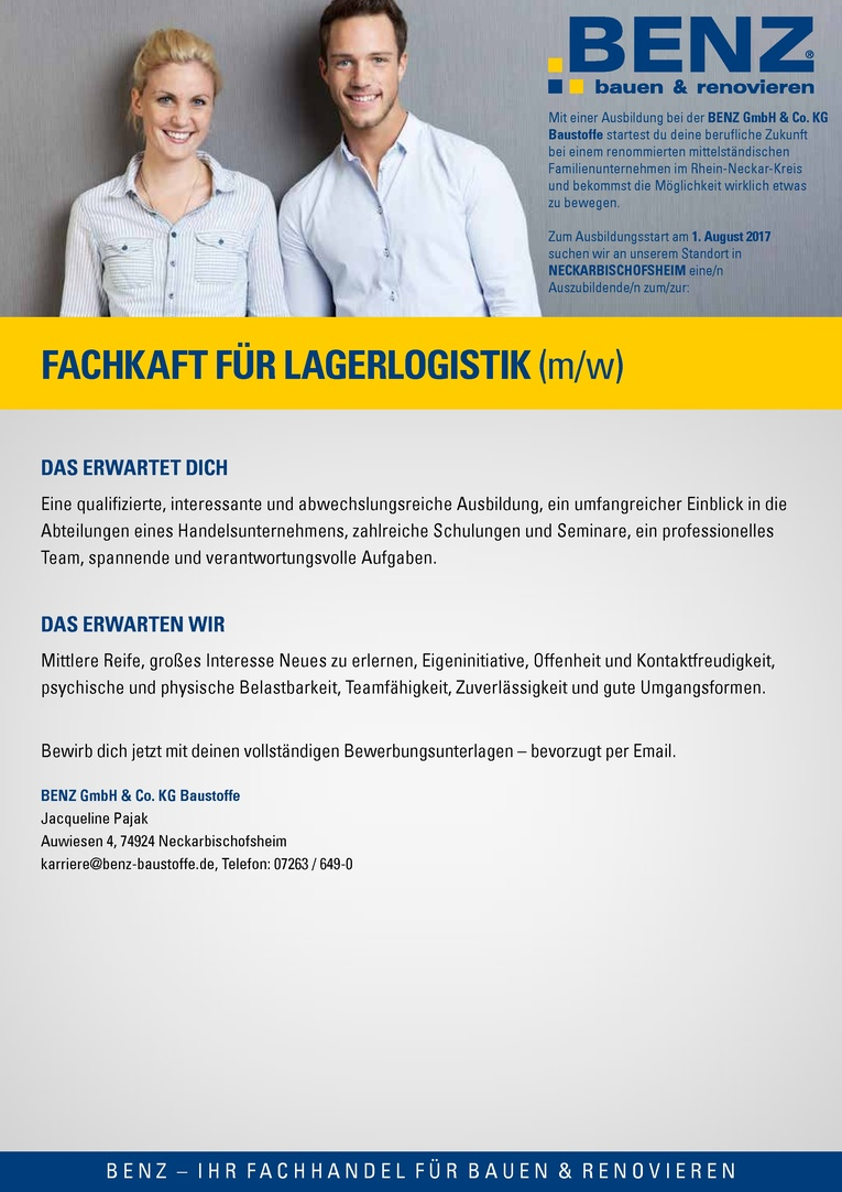 Ausbildung: Fachkraft (m/w) für Lagerlogistik