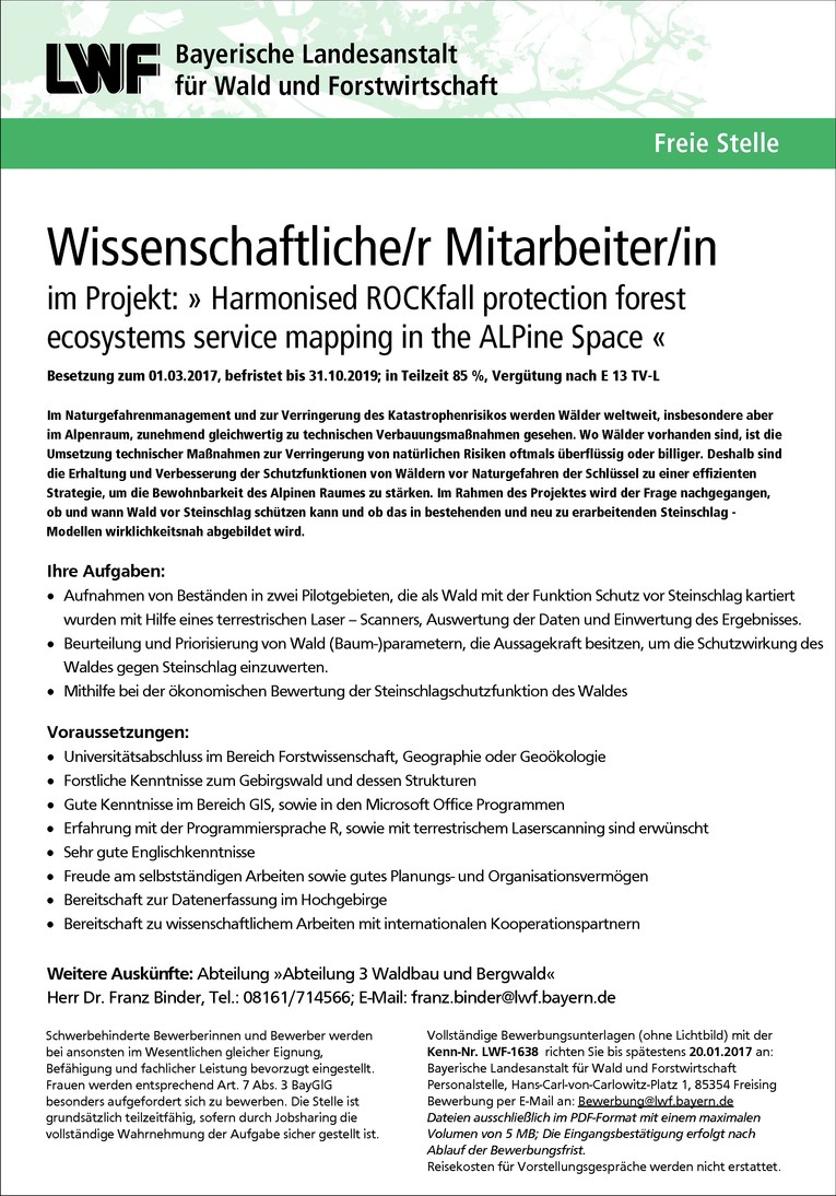 LWF-1638 Wissenschaftliche/r Mitarbeiter/in im Projekt: » Harmonised ROCKfall protection forest ecosystems service mapping in the ALPine Space « m/w