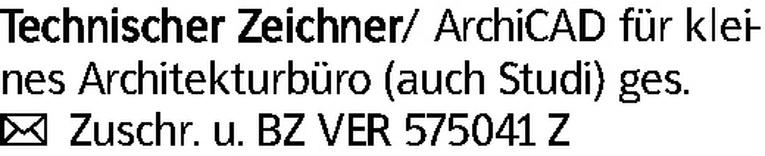 Technischer Zeichner/ ArchiCAD