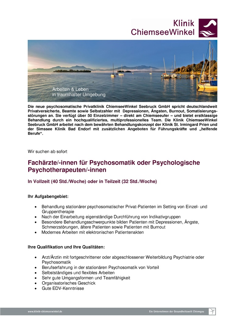 Fachärzte/-innen für Psychosomatik oder Psychologische Psychotherapeuten/-innen