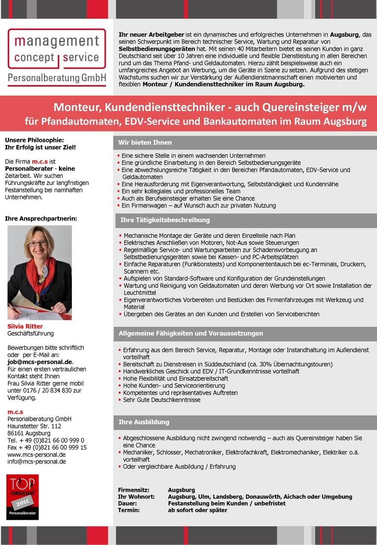 Monteur, Kundendiensttechniker - auch Quereinsteiger m/w für Pfandautomaten, EDV-Service und Bankautomaten