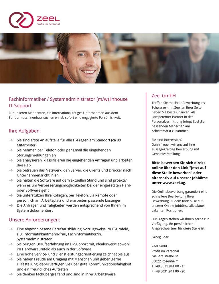 Fachinformatiker / Systemadministrator (m/w) Inhouse IT-Support