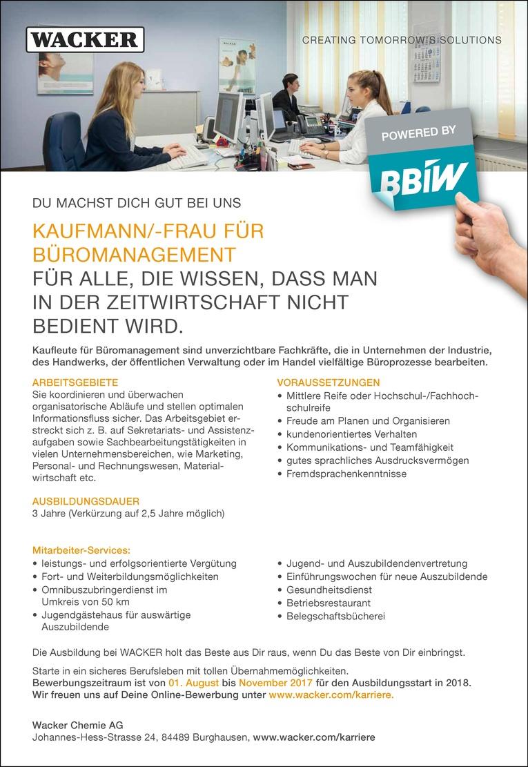 Ausbildung als Kaufmann/-frau für Büromanagement
