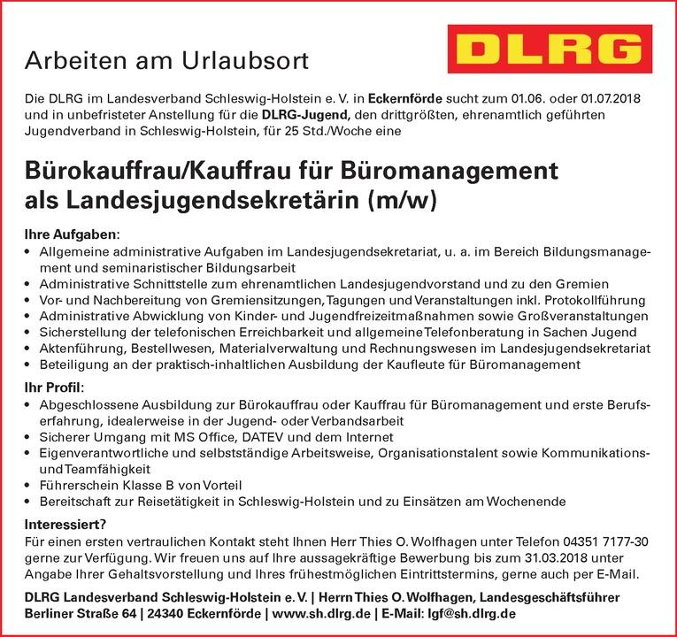 Bürokauffrau/Kauffrau für Büromanagement als Landesjugendsekretärin (m/w)