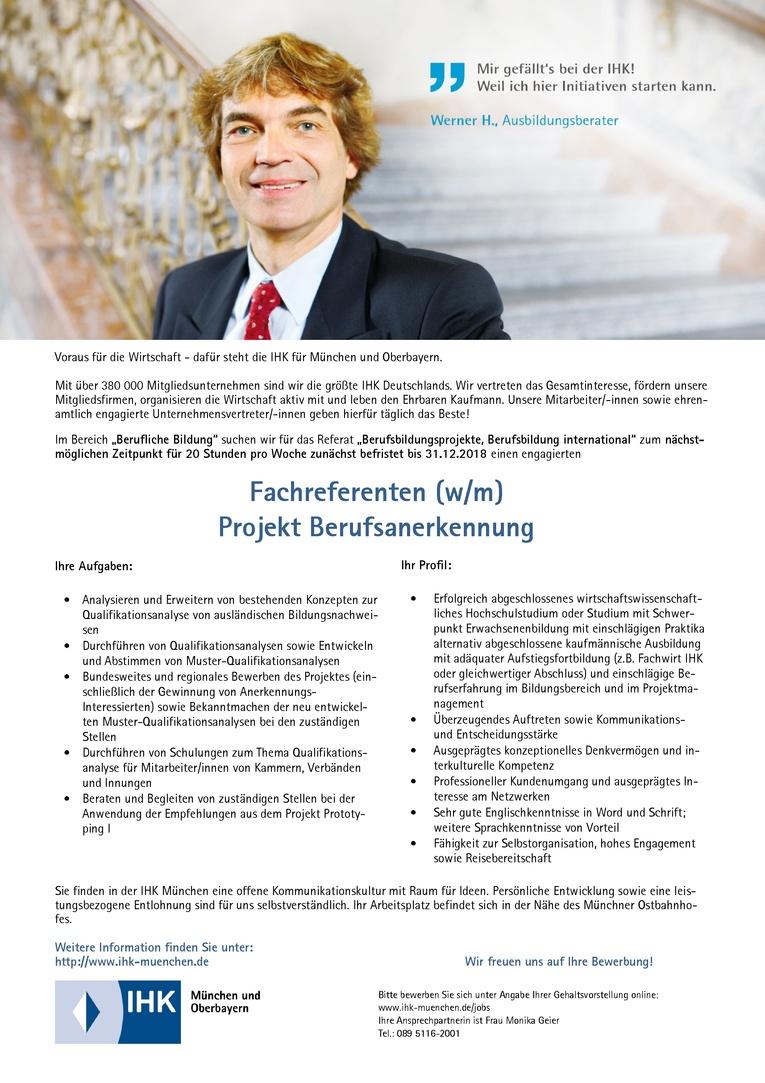 Fachreferent (w/m) Projekt Berufsanerkennung