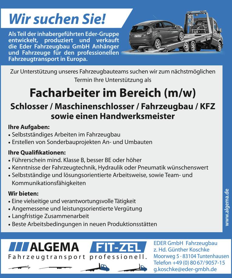 Facharbeiter im Bereich (m/w) Schlosser / Maschinenschlosser / Fahrzeugbau / KFZ sowie einen Handwerksmeister
